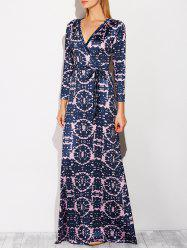 Surplice Long Printed Prom Dress with Sleeves -