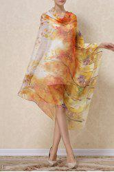 Soft Autumn Tree Painting Chiffon Pashmina - CITRUS