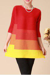 Three Quarter Sleeve Color Block Trapeze Dress -