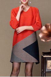 V Neck Color Block Dress -