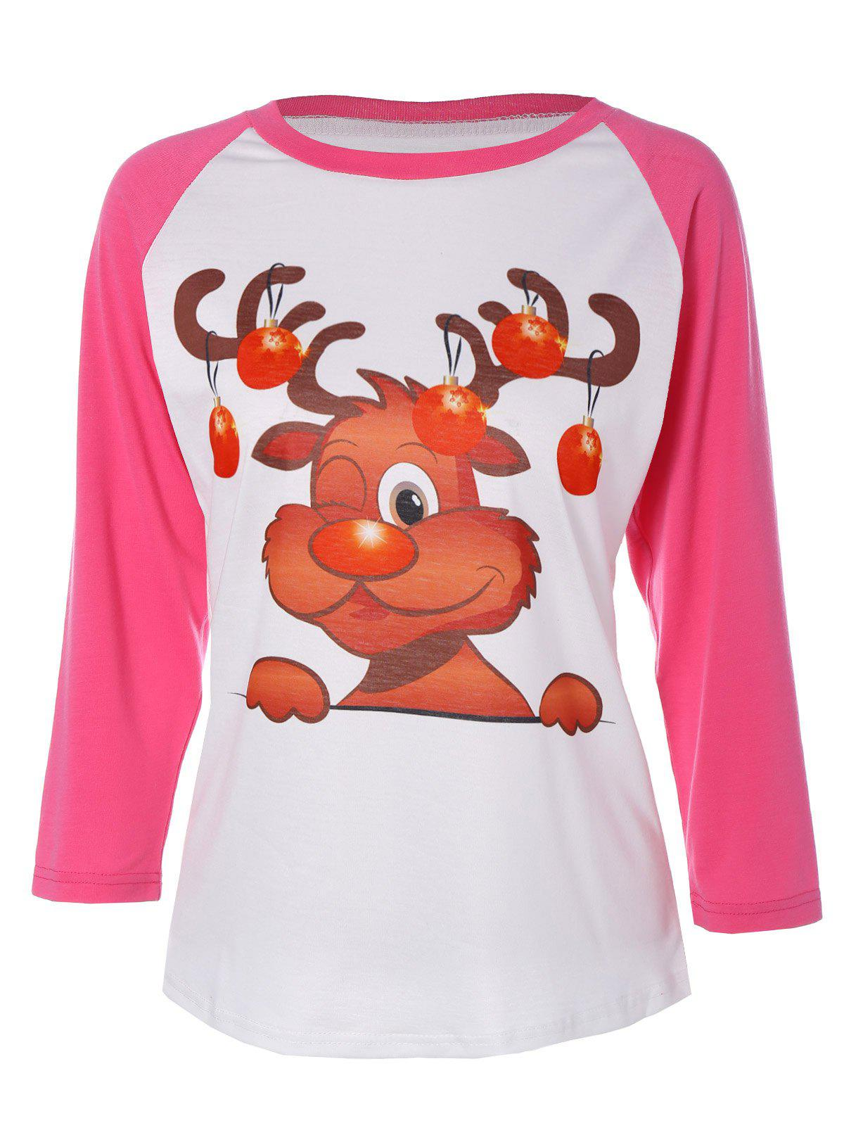 Christmas Elk Print T-ShirtWOMEN<br><br>Size: L; Color: DEEP PINK; Material: Polyester; Sleeve Length: Full; Collar: Round Neck; Style: Fashion; Pattern Type: Print; Season: Fall,Spring; Weight: 0.270kg; Package Contents: 1 x T-Shirt;