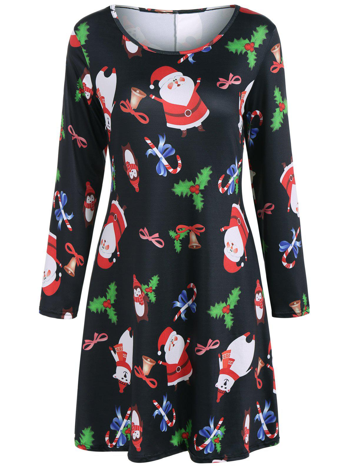 Christmas Santa Claus Print DressWOMEN<br><br>Size: XL; Color: BLACK; Style: Casual; Material: Polyester; Silhouette: A-Line; Dresses Length: Mini; Neckline: Scoop Neck; Sleeve Length: Long Sleeves; Pattern Type: Character; With Belt: No; Season: Fall,Spring; Weight: 0.350kg; Package Contents: 1 x Dress;