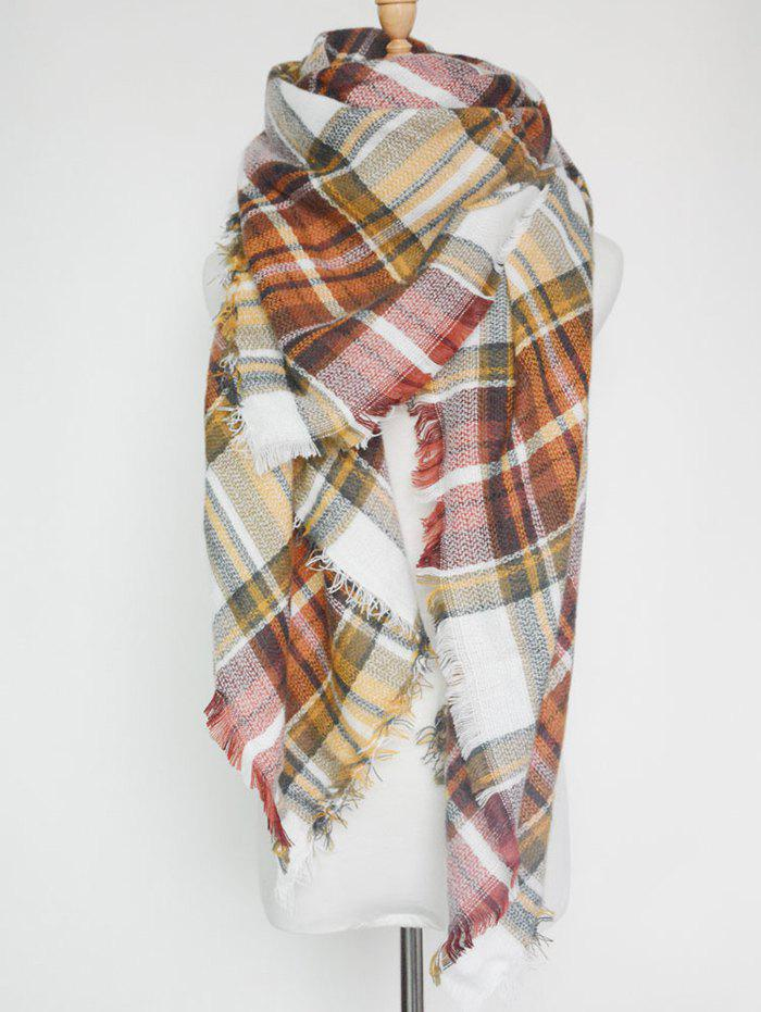 Outdoor Plaid Print Fringed Square Blanket Shawl ScarfACCESSORIES<br><br>Color: DARK KHAKI; Scarf Type: Scarf; Group: Adult; Gender: For Women; Style: Fashion; Material: Acrylic; Season: Fall,Winter; Scarf Length: 140CM; Scarf Width (CM): 140CM; Weight: 0.2640kg; Package Contents: 1 x Scarf;
