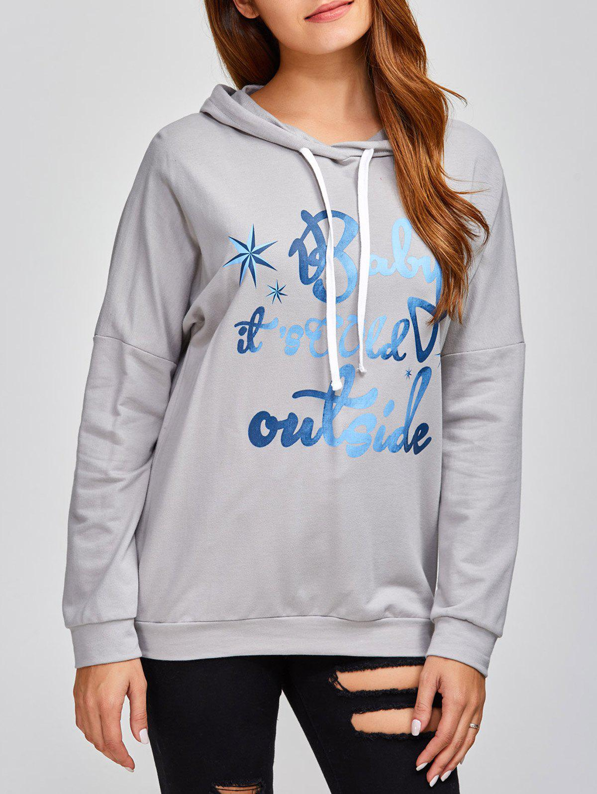 Buy Drop Shoulder Letter Print Hoodie
