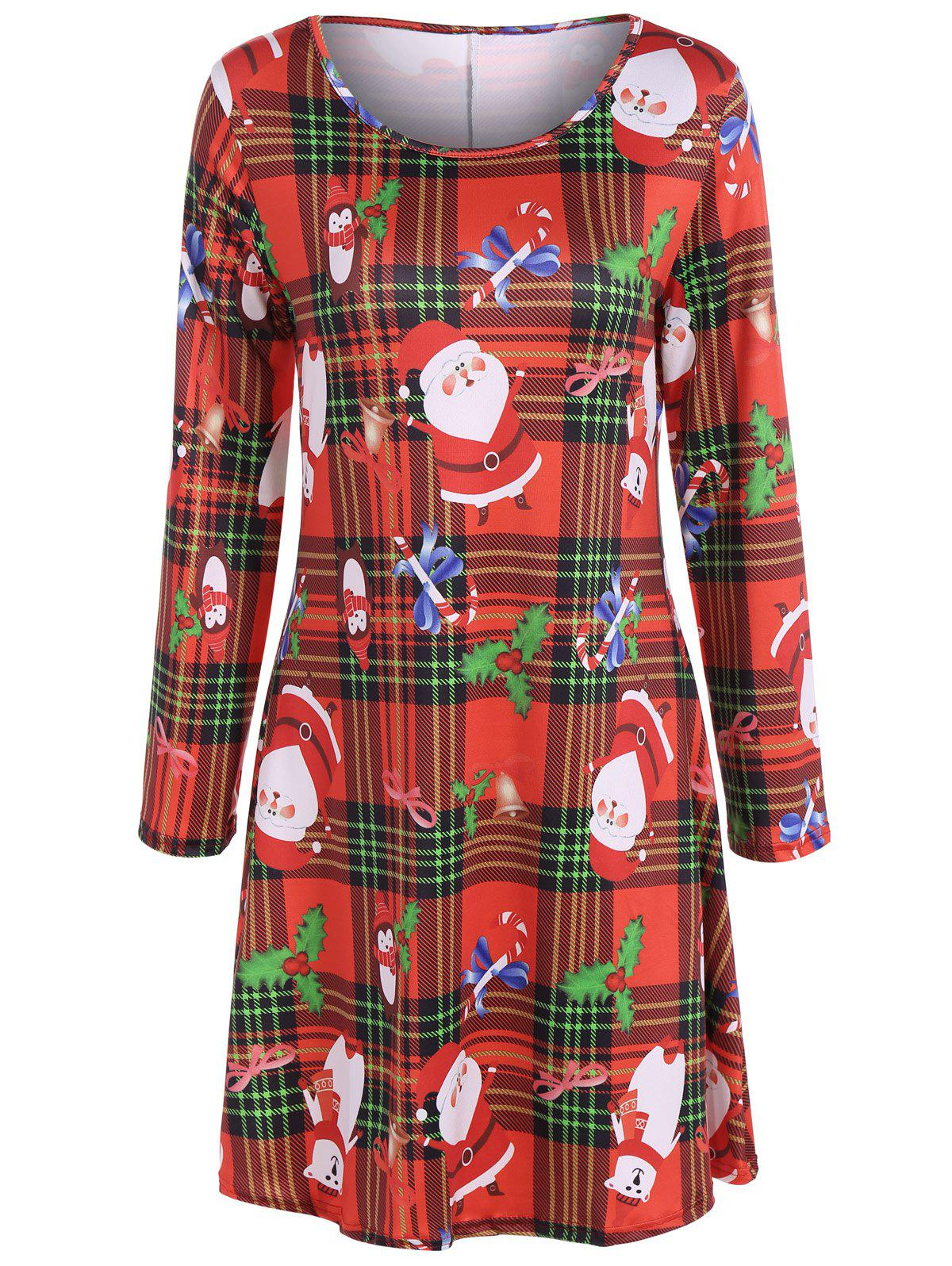 Christmas Santa Print Plaid DressWOMEN<br><br>Size: XL; Color: RED; Style: Casual; Material: Polyester; Silhouette: A-Line; Dresses Length: Mini; Neckline: Scoop Neck; Sleeve Length: Long Sleeves; Pattern Type: Character; With Belt: No; Season: Fall,Spring; Weight: 0.3500kg; Package Contents: 1 x Dress;