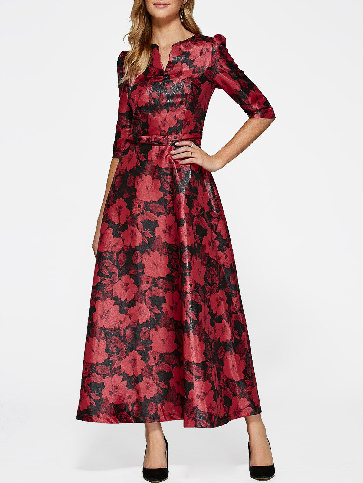 Unique 3/4 Sleeve Maxi Flower Print Vintage Dress