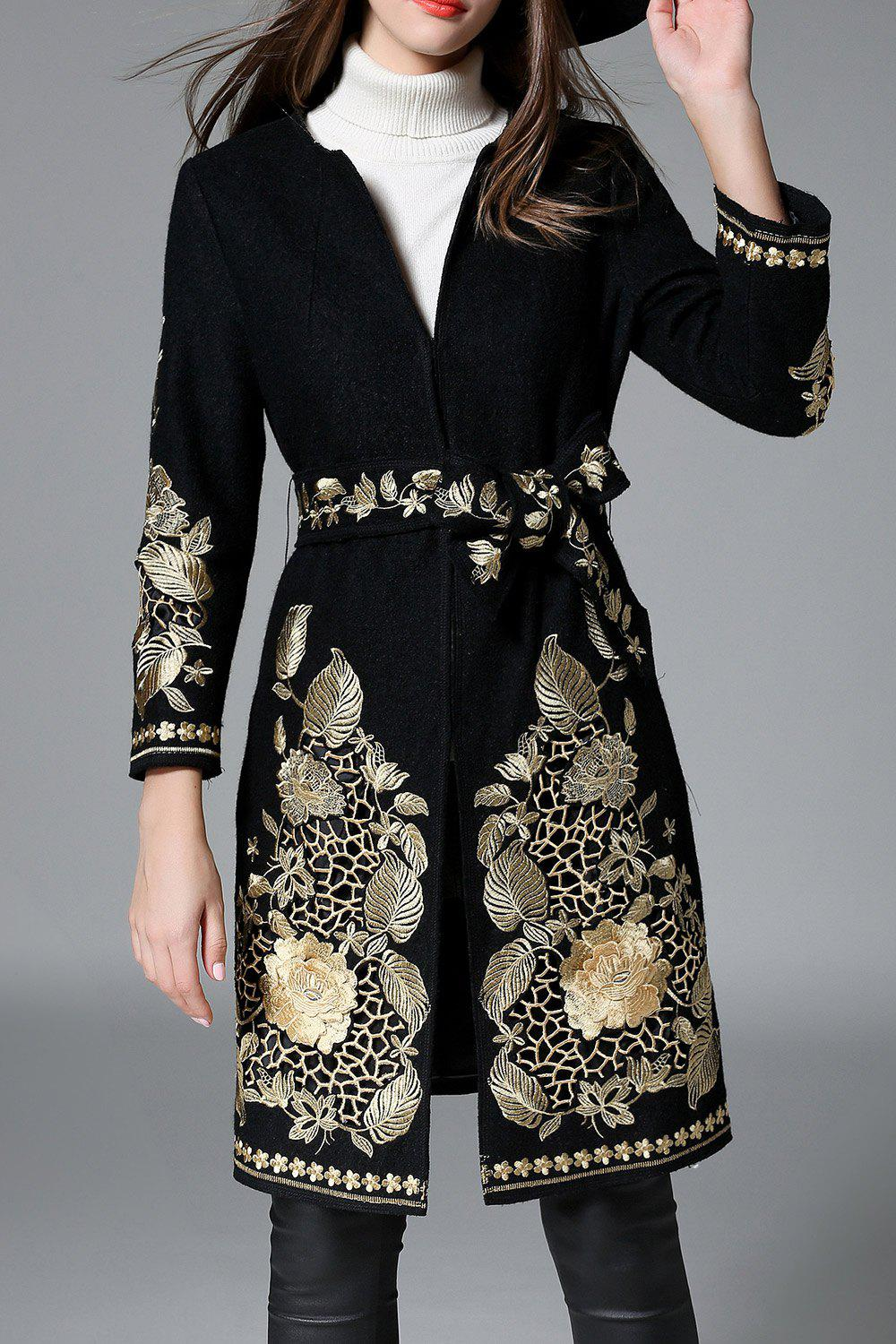 Best Floral Embroidered Belted Coat