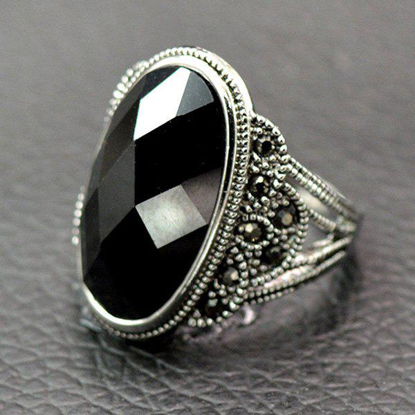 Vintage Artificial Onyx Finger RingJEWELRY<br><br>Size: 19; Color: BLACK; Gender: For Men; Metal Type: Alloy; Style: Classic; Shape/Pattern: Geometric; Weight: 0.0320kg; Package Contents: 1 x Ring;