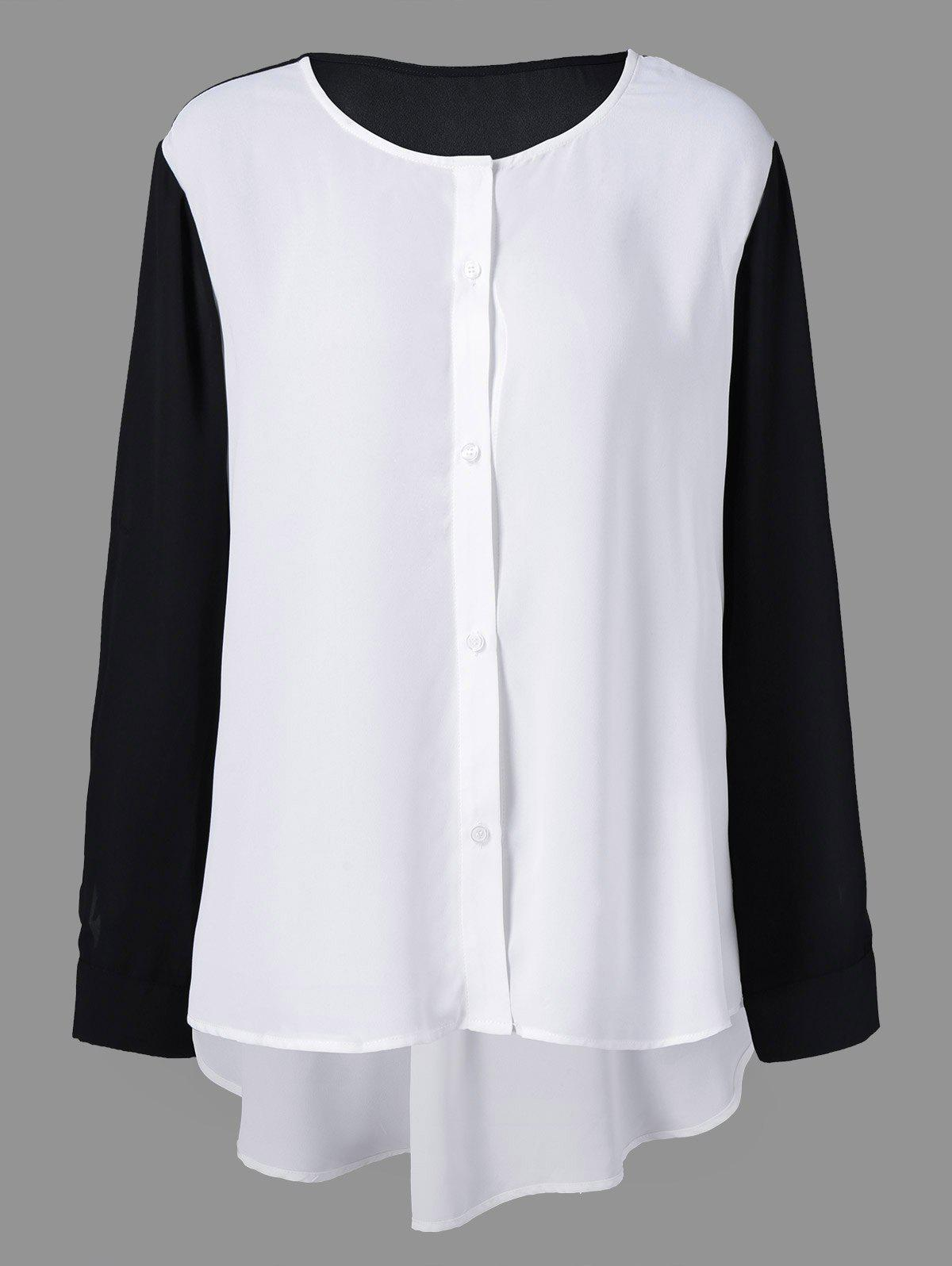 Plus Size High Low Button Down BlouseWOMEN<br><br>Size: XL; Color: WHITE AND BLACK; Material: Polyester; Shirt Length: Long; Sleeve Length: Full; Collar: Scoop Neck; Style: Fashion; Season: Fall,Spring; Pattern Type: Patchwork; Weight: 0.380kg; Package Contents: 1 x Blouse;