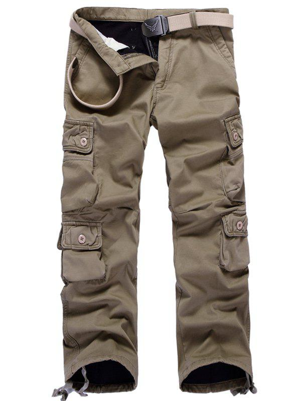 Affordable Zipper Fly Plus Size Pockets Flocking Cargo Pants