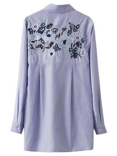 Buy Self Tie Striped Floral Embroidered Shirt