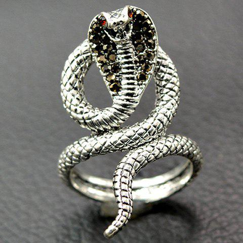Vintage Twine Snake Embossed Open RingJEWELRY<br><br>Size: 19; Color: SILVER; Gender: For Men; Metal Type: Alloy; Style: Classic; Shape/Pattern: Animal; Weight: 0.0280kg; Package Contents: 1 x Ring;