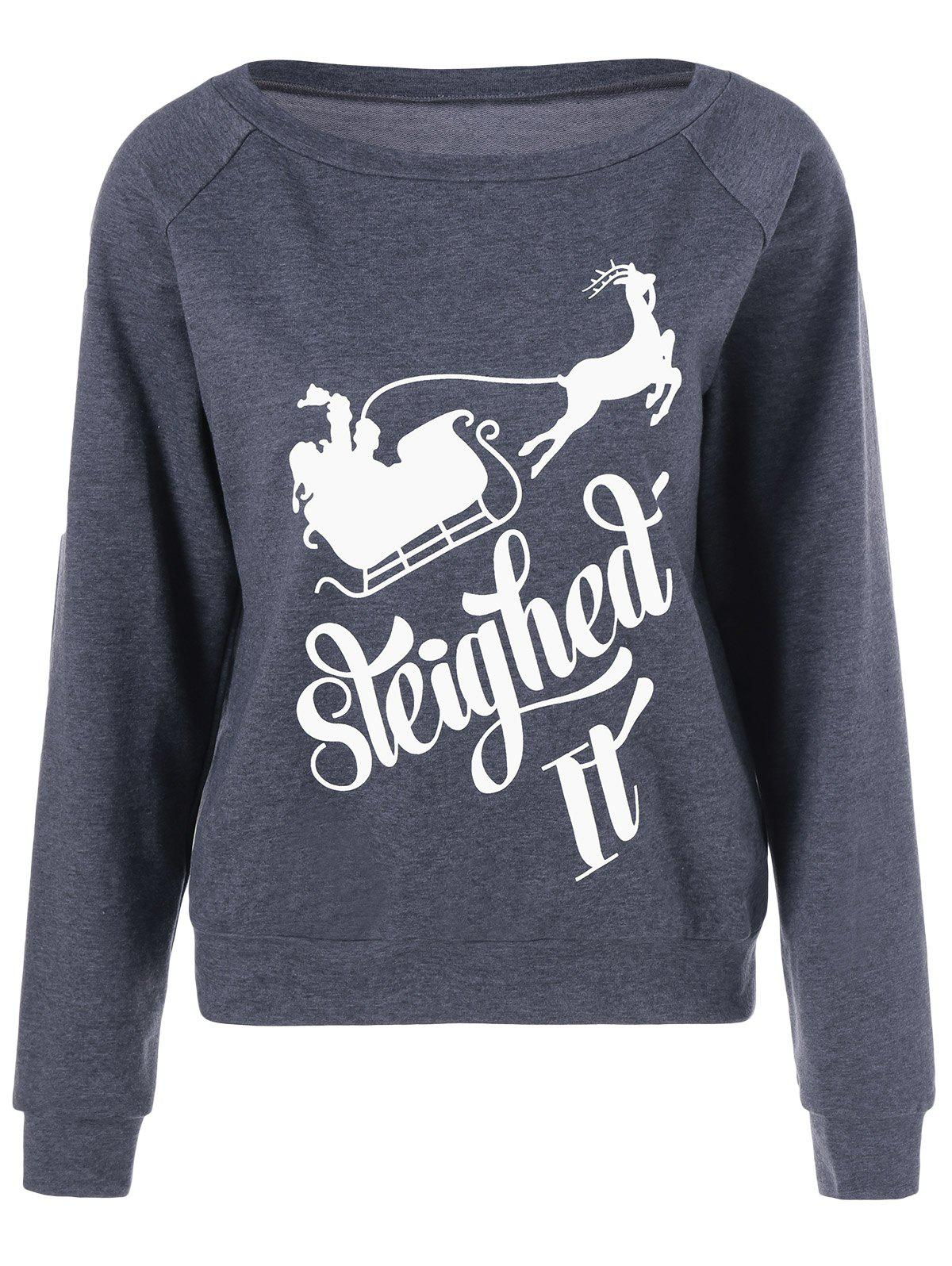 Sleigh Print Christmas SweatshirtWOMEN<br><br>Size: L; Color: MOUSE GREY; Material: Spandex; Shirt Length: Regular; Sleeve Length: Full; Style: Casual; Pattern Style: Letter; Season: Fall,Spring; Weight: 0.400kg; Package Contents: 1 x Sweatshirt;