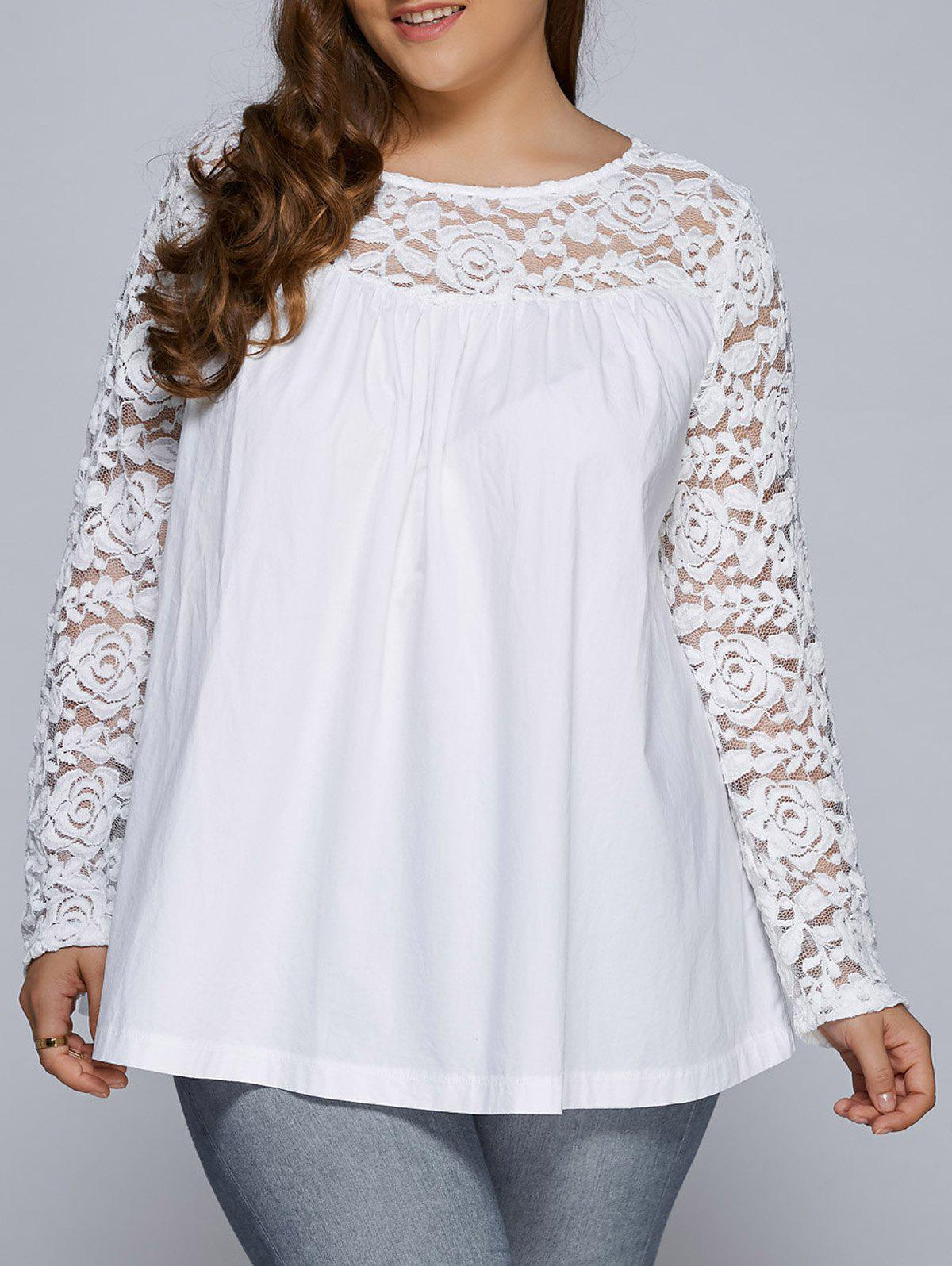 Plus Size Lace Splicing Long Sleeve BlouseWOMEN<br><br>Size: 2XL; Color: WHITE; Material: Polyester; Shirt Length: Regular; Sleeve Length: Full; Collar: Round Neck; Style: Casual; Season: Fall,Spring; Embellishment: Lace; Pattern Type: Floral; Weight: 0.350kg; Package Contents: 1 x Blouse;