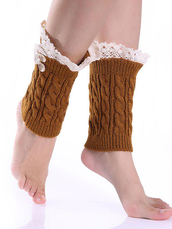 Hot Lace Button Cable Knit Boot Cuffs
