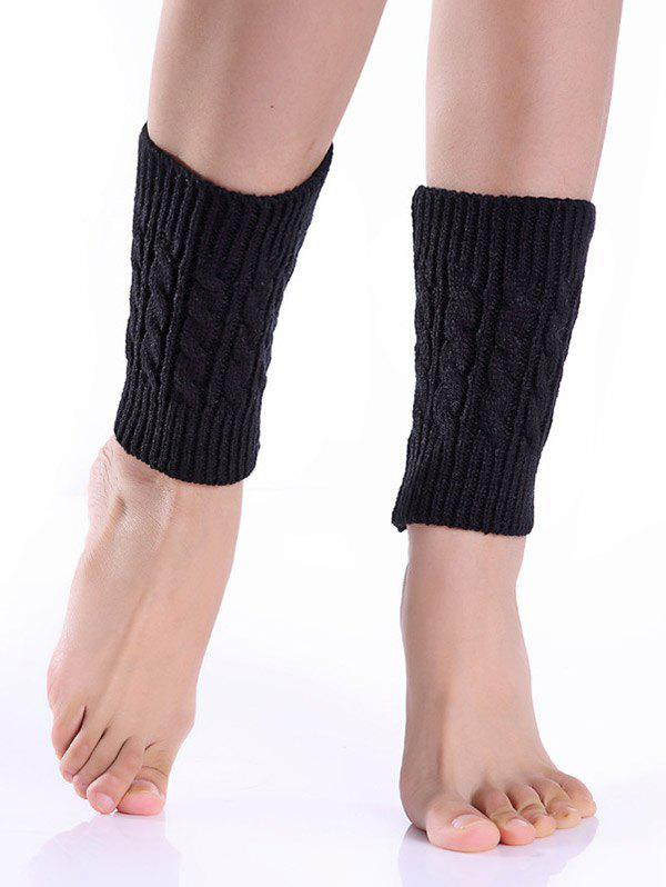 Cable Knitted Boot CuffsACCESSORIES<br><br>Color: BLACK; Type: Leg Warmers; Group: Adult; Gender: For Women; Style: Fashion; Pattern Type: Solid; Weight: 0.075kg; Package Contents: 1 x Boot Cuffs(Pair);