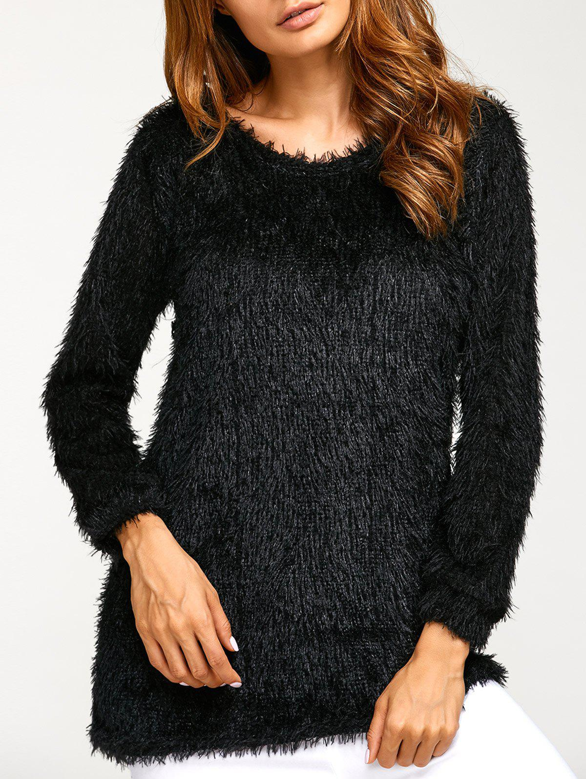 Asymmetric Pullover Mohair SweaterWOMEN<br><br>Size: L; Color: BLACK; Type: Pullovers; Material: Acrylic; Sleeve Length: Full; Collar: Round Neck; Style: Casual; Pattern Type: Solid; Season: Fall,Spring,Winter; Weight: 0.300kg; Package Contents: 1 x Sweater;