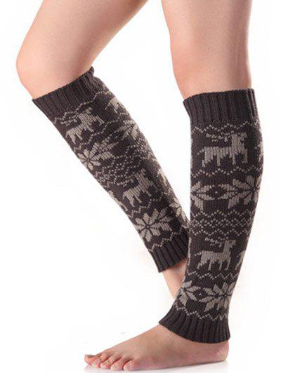 Christmas Warm Fawn Snowflake Knitted Leg WarmersACCESSORIES<br><br>Color: DEEP GRAY; Type: Leg Warmers; Group: Adult; Gender: For Women; Style: Fashion; Pattern Type: Animal; Weight: 0.110kg; Package Contents: 1 x Leg Warmers(Pair);
