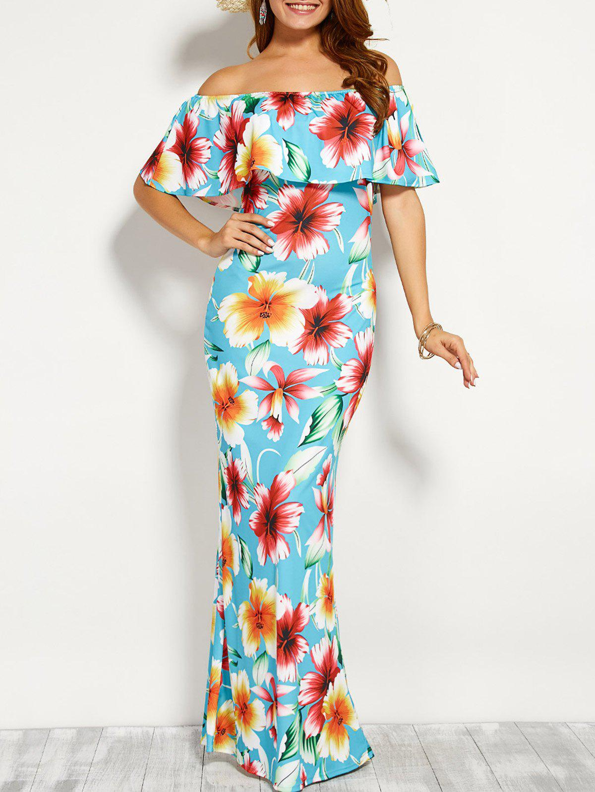 8693d532482 2019 OFF Shoulder Flounce Long Floral Dress For Wedding