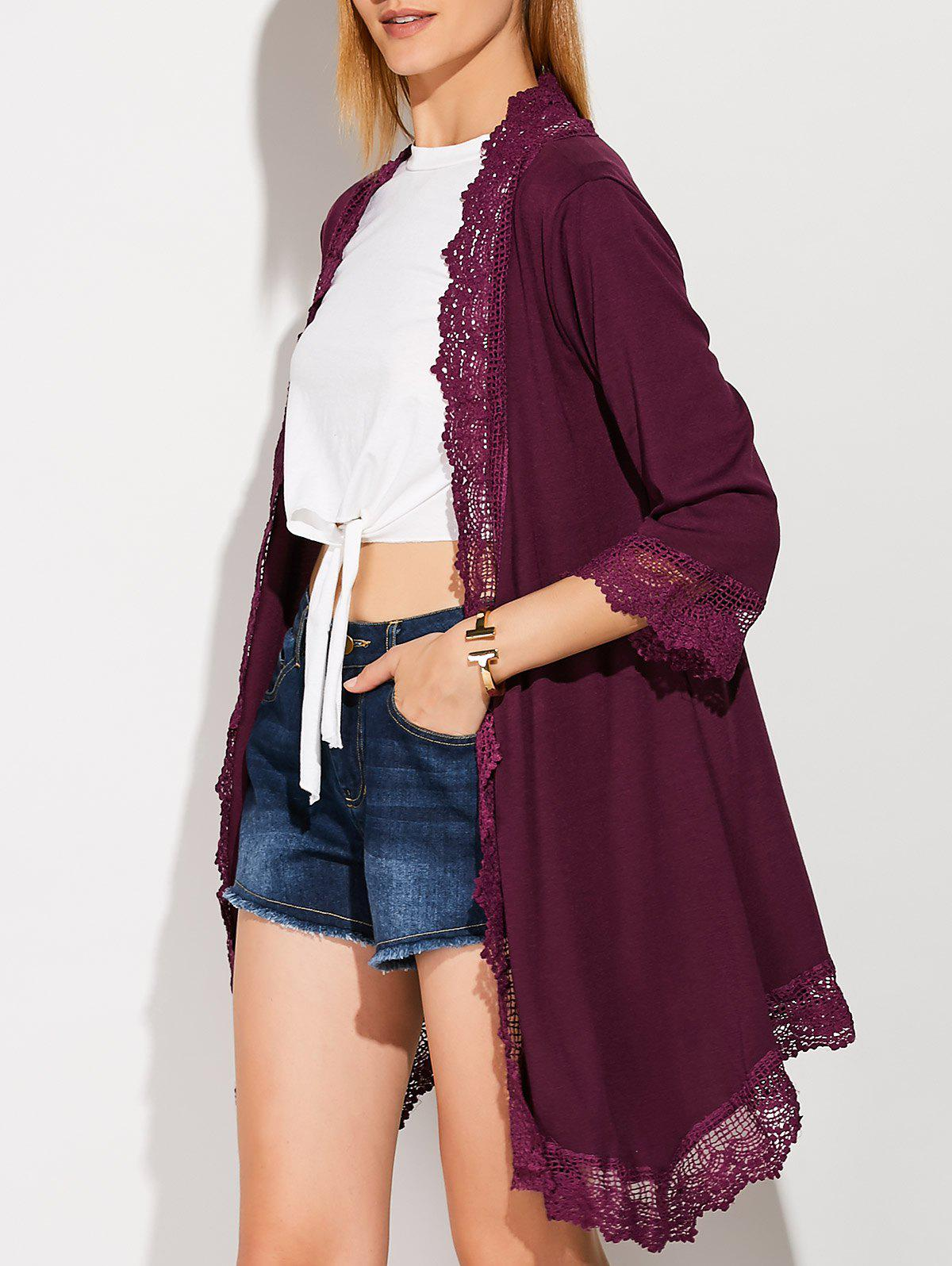 Latest Collarless Lace Spliced Duster Coat