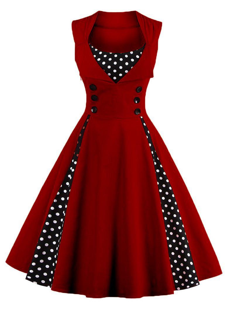 Sleeveless Polka Dot Retro Corset A Line DressWOMEN<br><br>Size: 2XL; Color: WINE RED; Style: Vintage; Material: Polyester; Silhouette: A-Line; Dresses Length: Knee-Length; Neckline: Square Collar; Sleeve Length: Sleeveless; Pattern Type: Polka Dot; With Belt: No; Season: Spring,Summer; Weight: 0.3020kg; Package Contents: 1 x Dress;