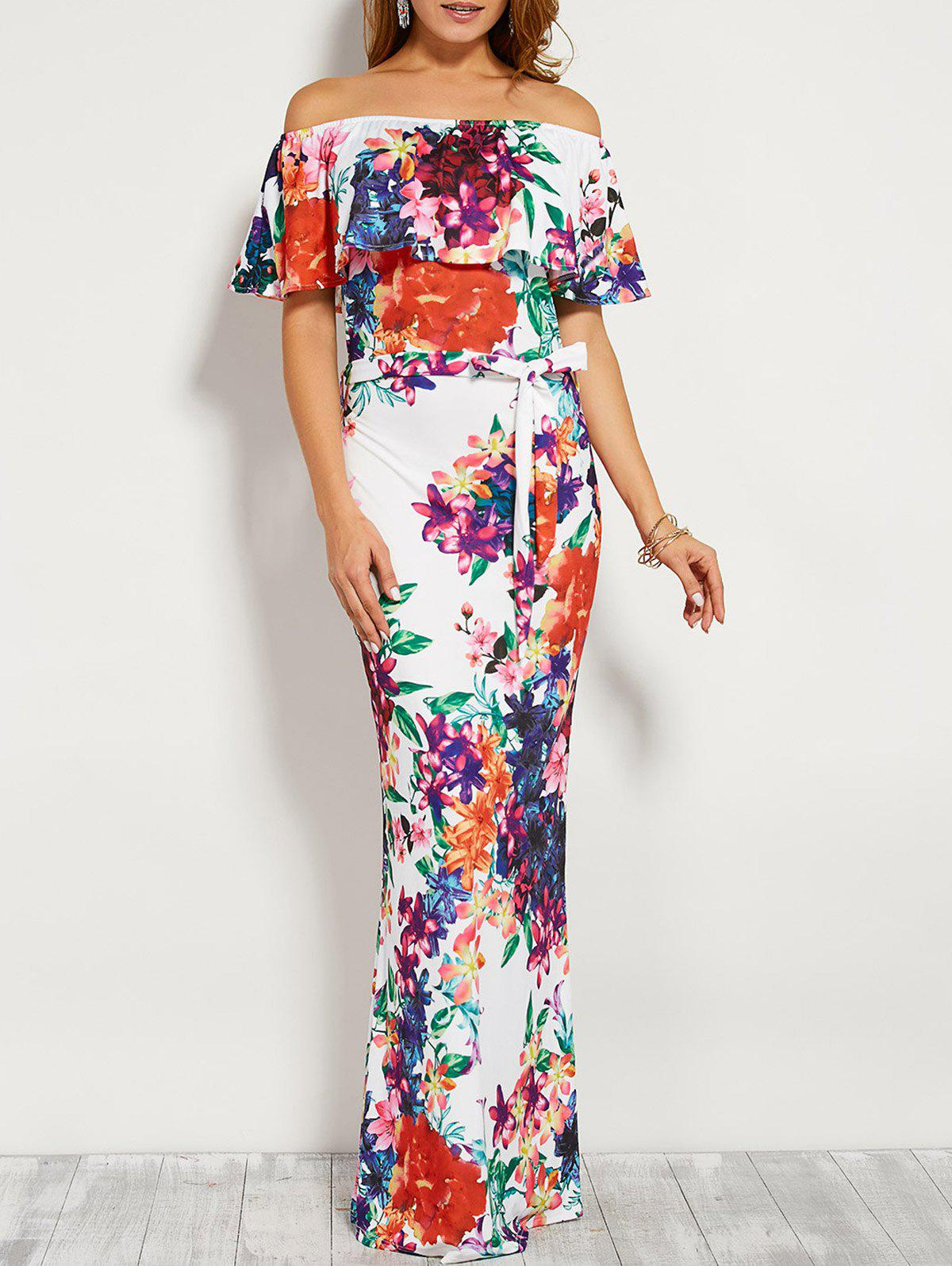 Outfits Floral Flounce Off The Shoulder Long Maxi Dress