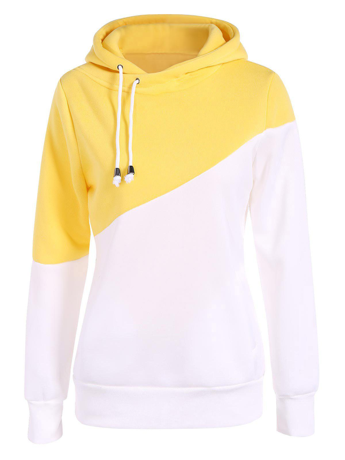Discount Drawstring Color Block Pullover Hoodie