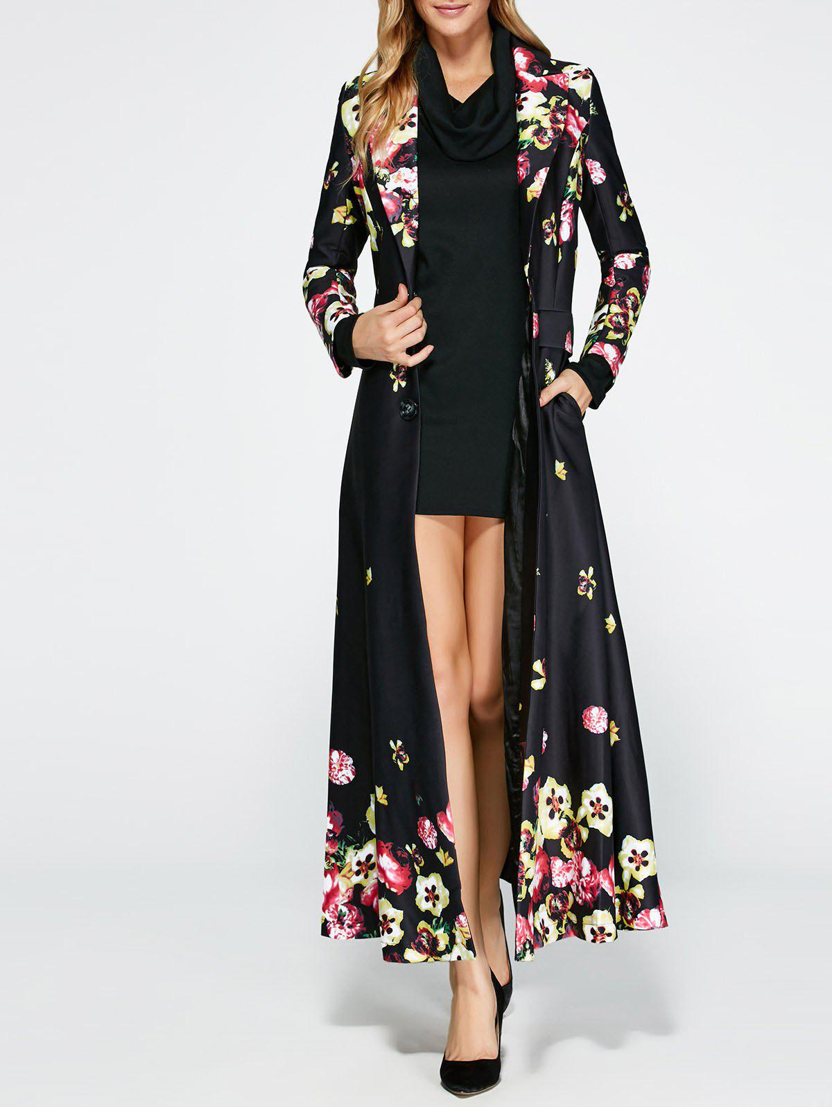 e27bcc08ea457 2019 Floral Print Vintage Trench Coat Dress