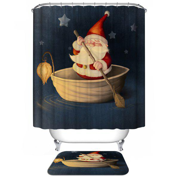 Santa Claus Waterproof Christmas Shower Curtain Barhroom DecorHOME<br><br>Color: DEEP BLUE; Type: Shower Curtains; Material: Polyester; Size(L*W)(CM): 180*180; Weight: 0.540kg; Package Contents: 1 x Shower Curtain;