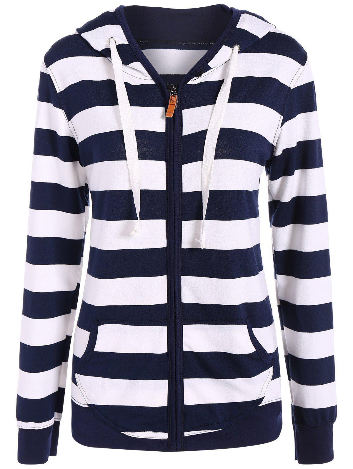 Trendy Zip Up Drawstring Striped Hoodie
