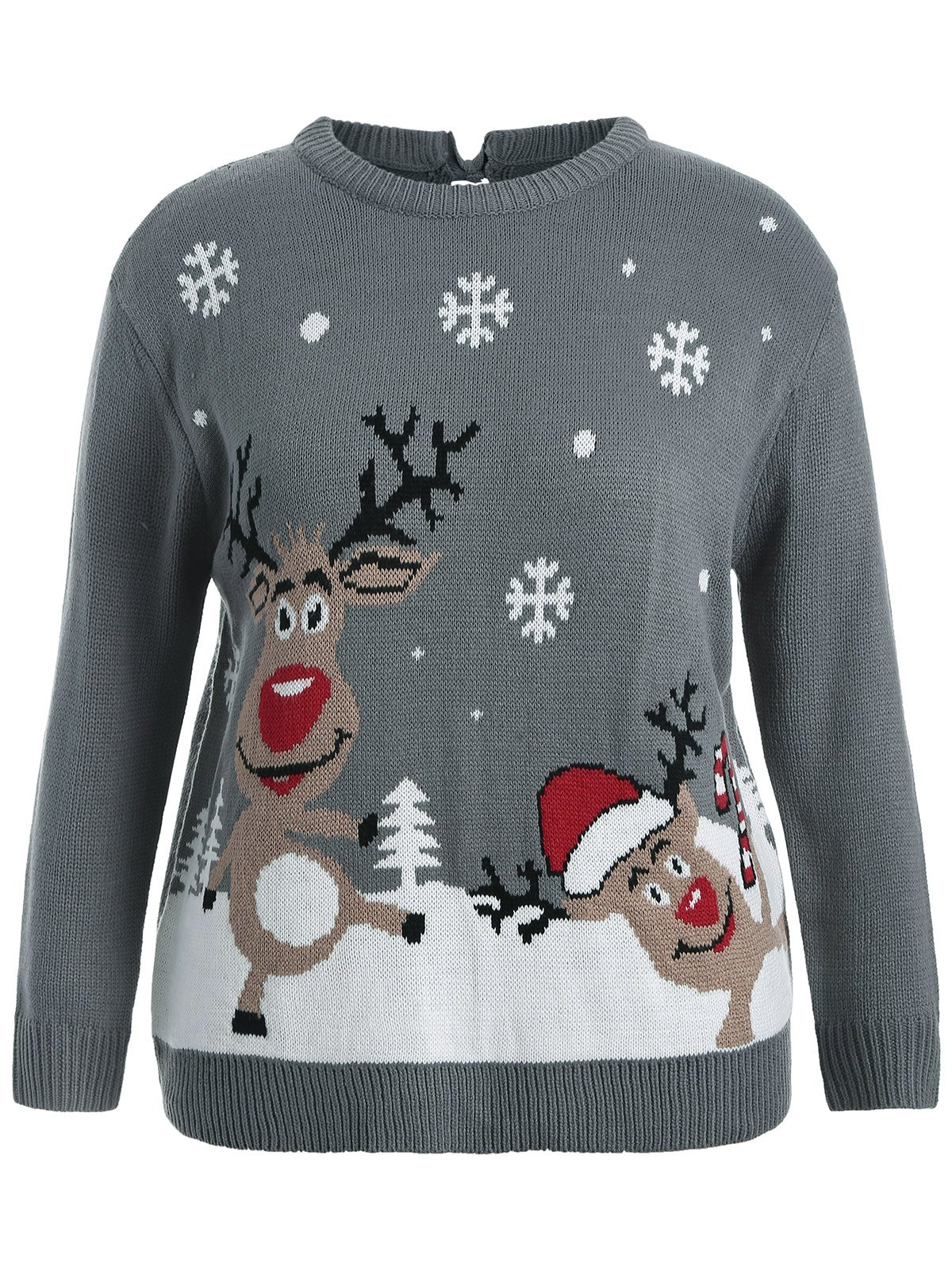 Back Bowknot Snowflake Cartoon Pattern Christmas SweaterWOMEN<br><br>Size: 3XL; Color: GRAY; Type: Pullovers; Material: Cotton,Spandex; Sleeve Length: Full; Collar: Round Neck; Technics: Computer Knitted; Style: Novelty; Season: Fall,Spring,Winter; Pattern Type: Character; Weight: 0.450kg; Package Contents: 1 x Sweater;