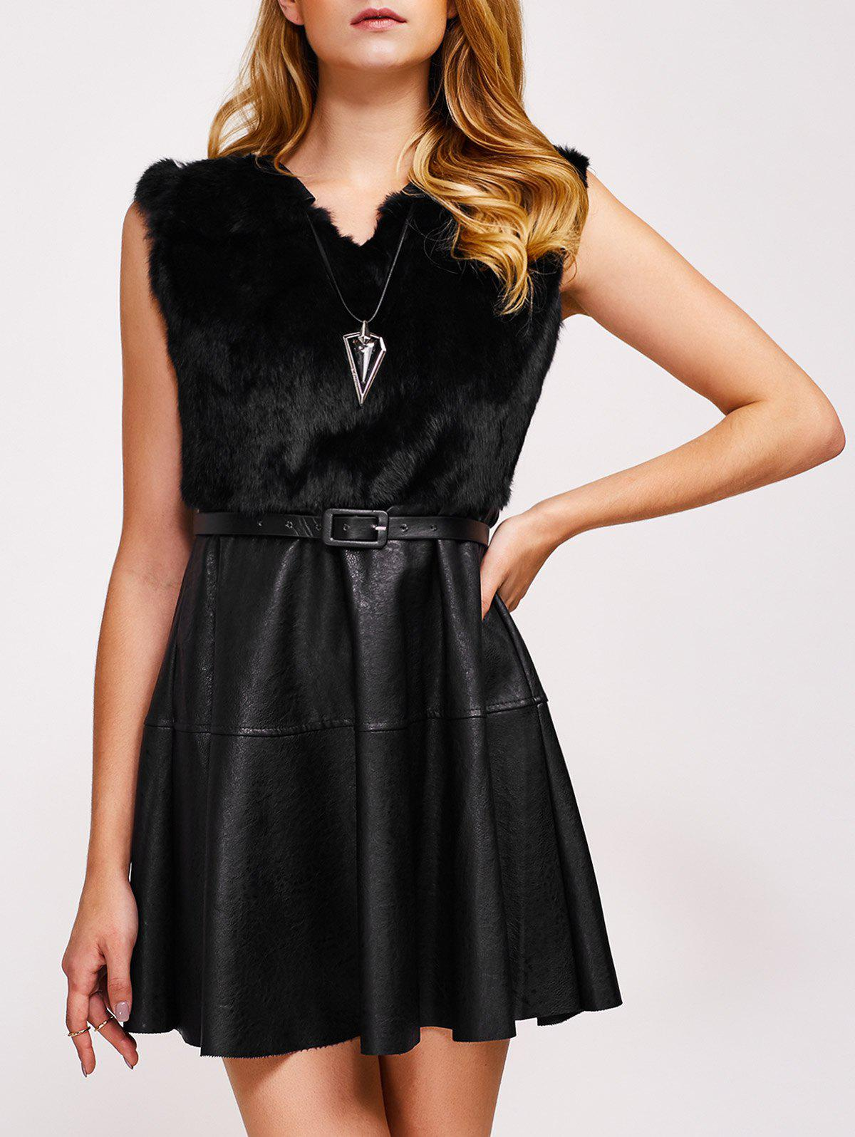Outfits Sleeveless Belted Faux Leather Dress
