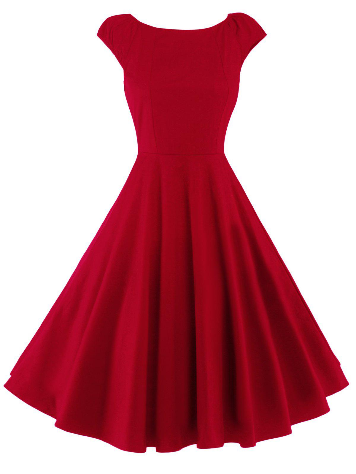 A Line Puffer Cap Sleep Plain Prom DressWOMEN<br><br>Size: XL; Color: RED; Style: Vintage; Material: Cotton; Silhouette: A-Line; Dresses Length: Knee-Length; Neckline: Round Collar; Sleeve Length: Short Sleeves; Pattern Type: Solid; With Belt: No; Season: Summer; Weight: 0.320kg; Package Contents: 1 x Dress;