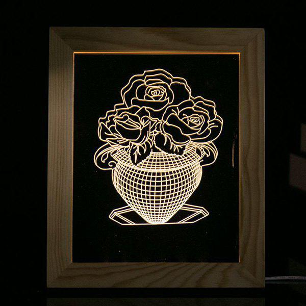 Cheap 3D Vision USB Flower Vase Wooden Photo Picture Frame Night Light