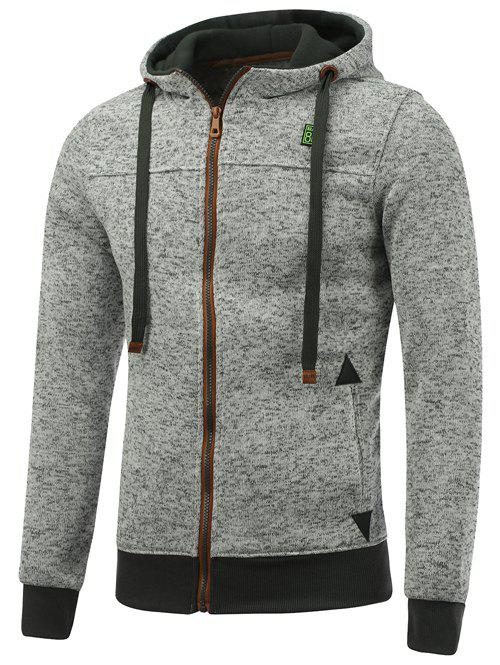 Hooded Cotton Blends Applique Zip Up HoodieMEN<br><br>Size: XL; Color: LIGHT GRAY; Material: Cotton,Polyester; Shirt Length: Regular; Sleeve Length: Full; Style: Fashion; Weight: 0.534kg; Package Contents: 1 x Hoodie;