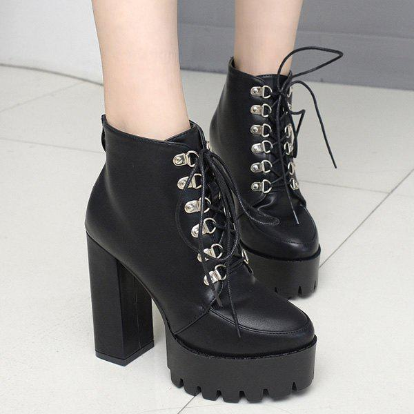 Discount High Heel Lace Up Platform Ankle Boots