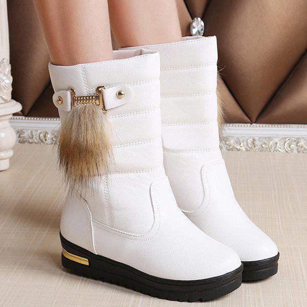 Hot PU Leather Faux Fur Mid Calf Boots