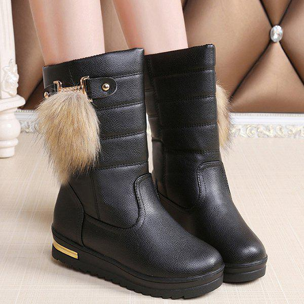 Shop PU Leather Faux Fur Mid Calf Boots