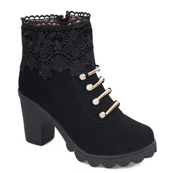 Metal Embroidery Zipper Ankle BootsSHOES &amp; BAGS<br><br>Size: 37; Color: BLACK; Gender: For Women; Boot Type: Fashion Boots; Boot Height: Ankle; Toe Shape: Round Toe; Heel Type: Chunky Heel; Heel Height Range: Med(1.75-2.75); Closure Type: Zip; Shoe Width: Medium(B/M); Pattern Type: Solid; Embellishment: Embroidery; Upper Material: PU; Weight: 1.1200kg; Season: Spring/Fall,Winter; Platform Height: 1CM; Heel Height: 7CM; Package Contents: 1 x Boots (pair);