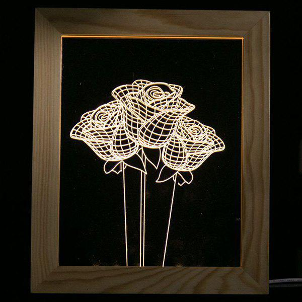 Fashion 3D Vision USB Rose Flower Wooden Photo Picture Frame LED Night Light