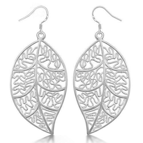 Vintage Engraved Leaves Drop EarringsJEWELRY<br><br>Color: SILVER; Earring Type: Drop Earrings; Gender: For Women; Style: Noble and Elegant; Shape/Pattern: Plant; Length: 7.1CM; Weight: 0.030kg; Package Contents: 1 x Earring (Pair);