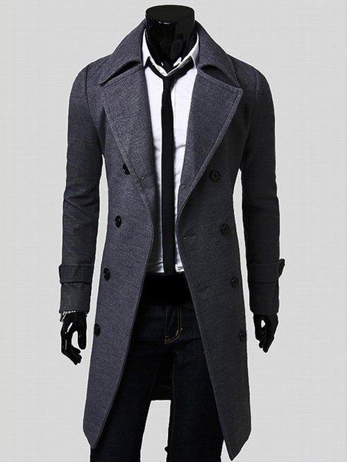 Double Breasted Overcoat with Side PocketsMEN<br><br>Size: M; Color: GRAY; Clothes Type: Others; Style: Casual,Fashion,Office,Streetwear; Material: Cotton,Polyester; Collar: Turn-down Collar; Shirt Length: Long; Sleeve Length: Long Sleeves; Season: Winter; Weight: 1.2030kg; Package Contents: 1 x Coat;