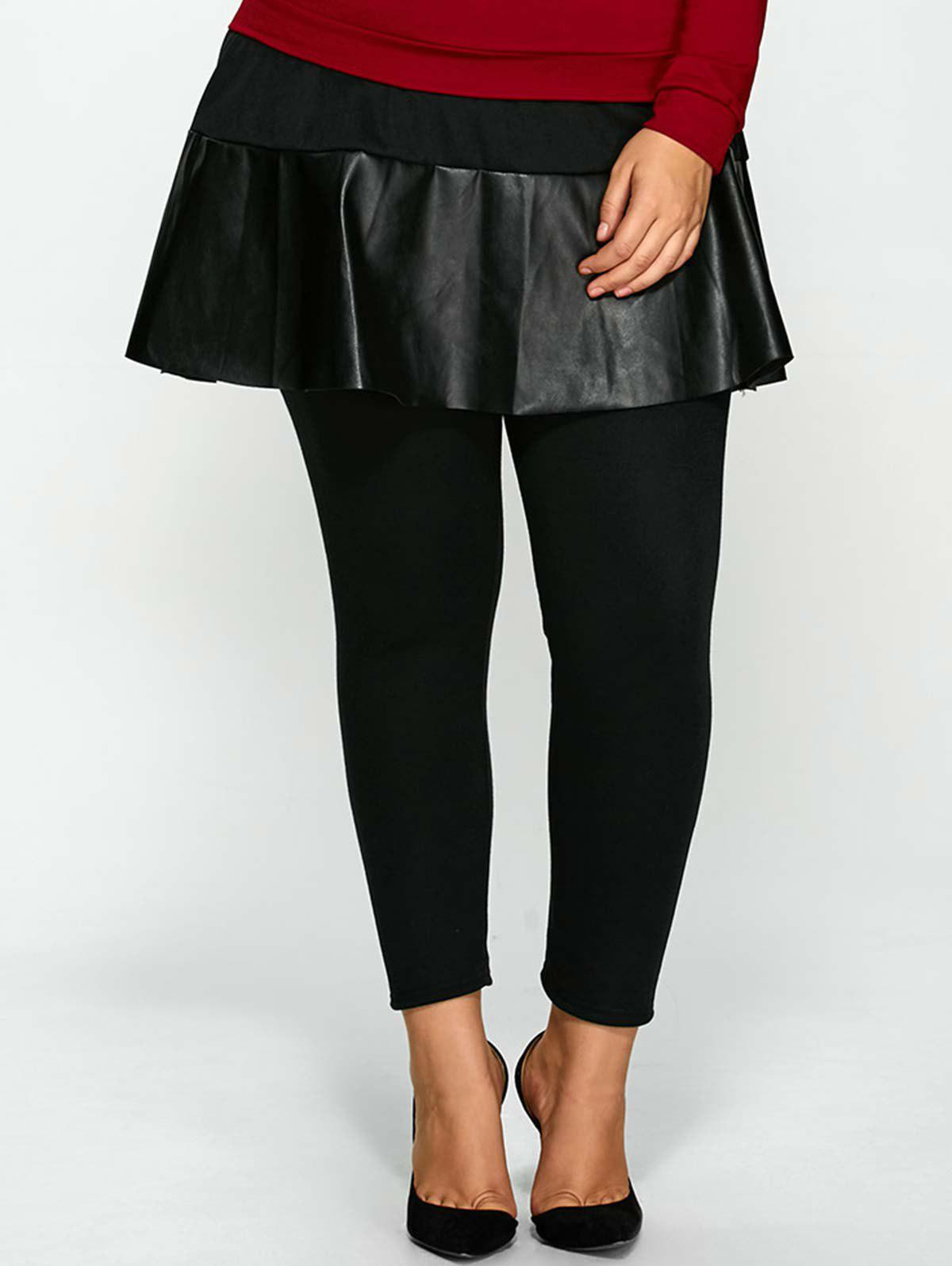 Skinny Plus Size PU Skirted PantsWOMEN<br><br>Size: 5XL; Color: BLACK; Style: Novelty; Length: Normal; Material: Faux Leather,Polyester; Fit Type: Skinny; Waist Type: High; Closure Type: Elastic Waist; Pattern Type: Patchwork; Pant Style: Pencil Pants; With Belt: No; Weight: 0.370kg; Package Contents: 1 x Pants;
