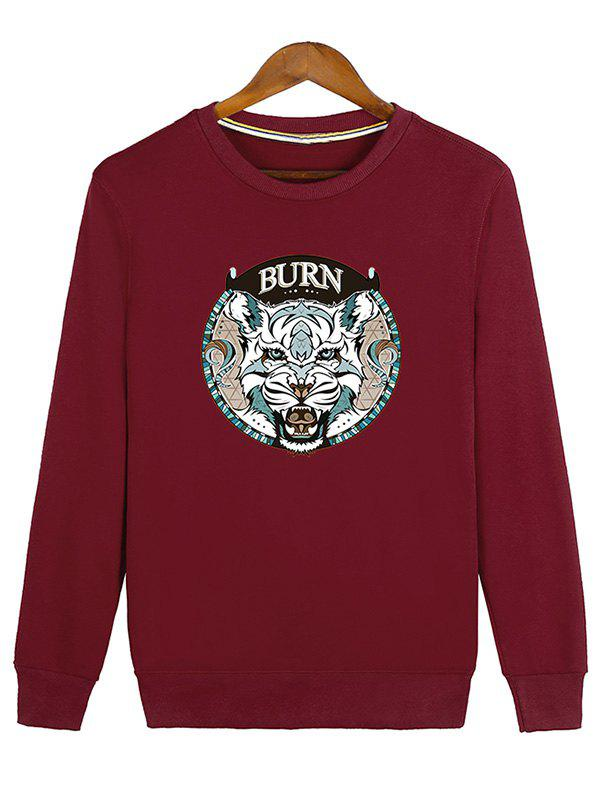Hot Ribbed Crew Neck Graphic Sweatshirt