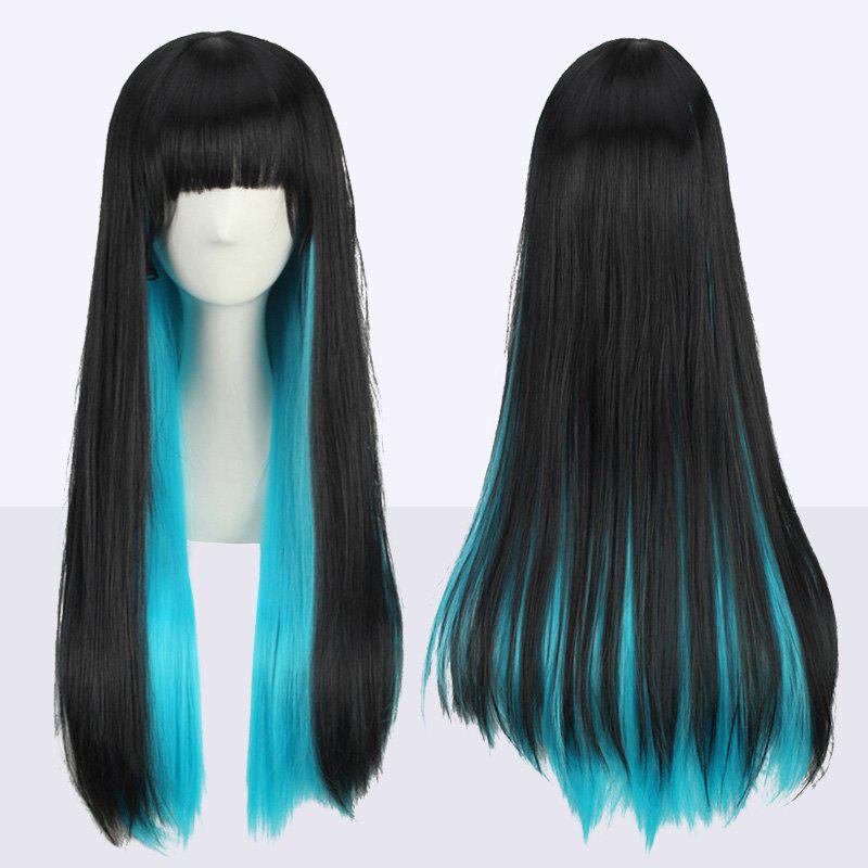 Stunning Long Full Bang Straight Double Color Synthetic Cosplay WigHAIR<br><br>Color: BLACK AND BLUE; Type: Full Wigs; Style: Straight; Material: Synthetic Hair; Bang Type: Full; Length: Long; Length Size(CM): 65; Weight: 0.270kg; Package Contents: 1 x Wig;