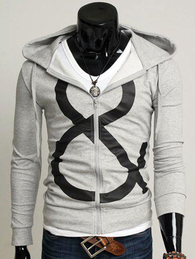 544889a37376 2019 Drawstring Graphic Zip Up Hoodie