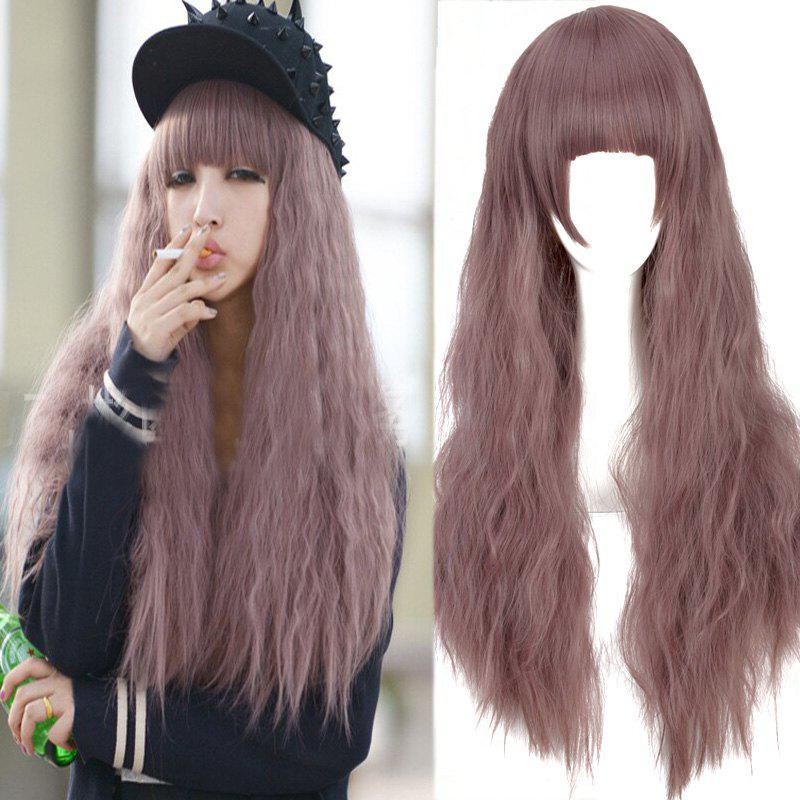 Long Neat Bang Fluffy Water Wavy Synthetic Cosplay WigHAIR<br><br>Color: COLORMIX; Type: Full Wigs; Style: Wavy; Material: Synthetic Hair; Bang Type: Full; Length: Long; Length Size(CM): 65; Weight: 0.220kg; Package Contents: 1 x Wig;