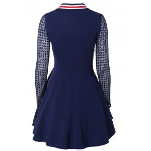 Bow Tie Collar Lace Spliced A-Line Dress -