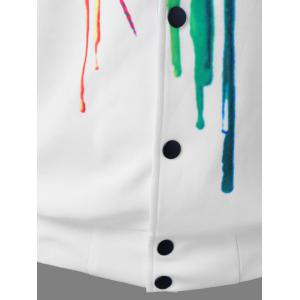 Paint Drip Bomber Jacket - WHITE XL