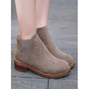 Zipper Elastic Band Metal Ankle Boots - CAMEL 39